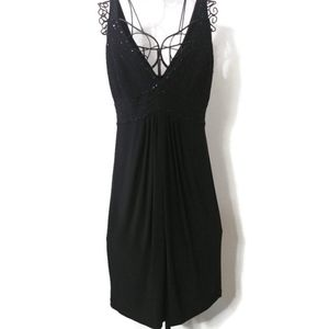 Jones Wear V- Neck Sleeveless Dress Beaded Design